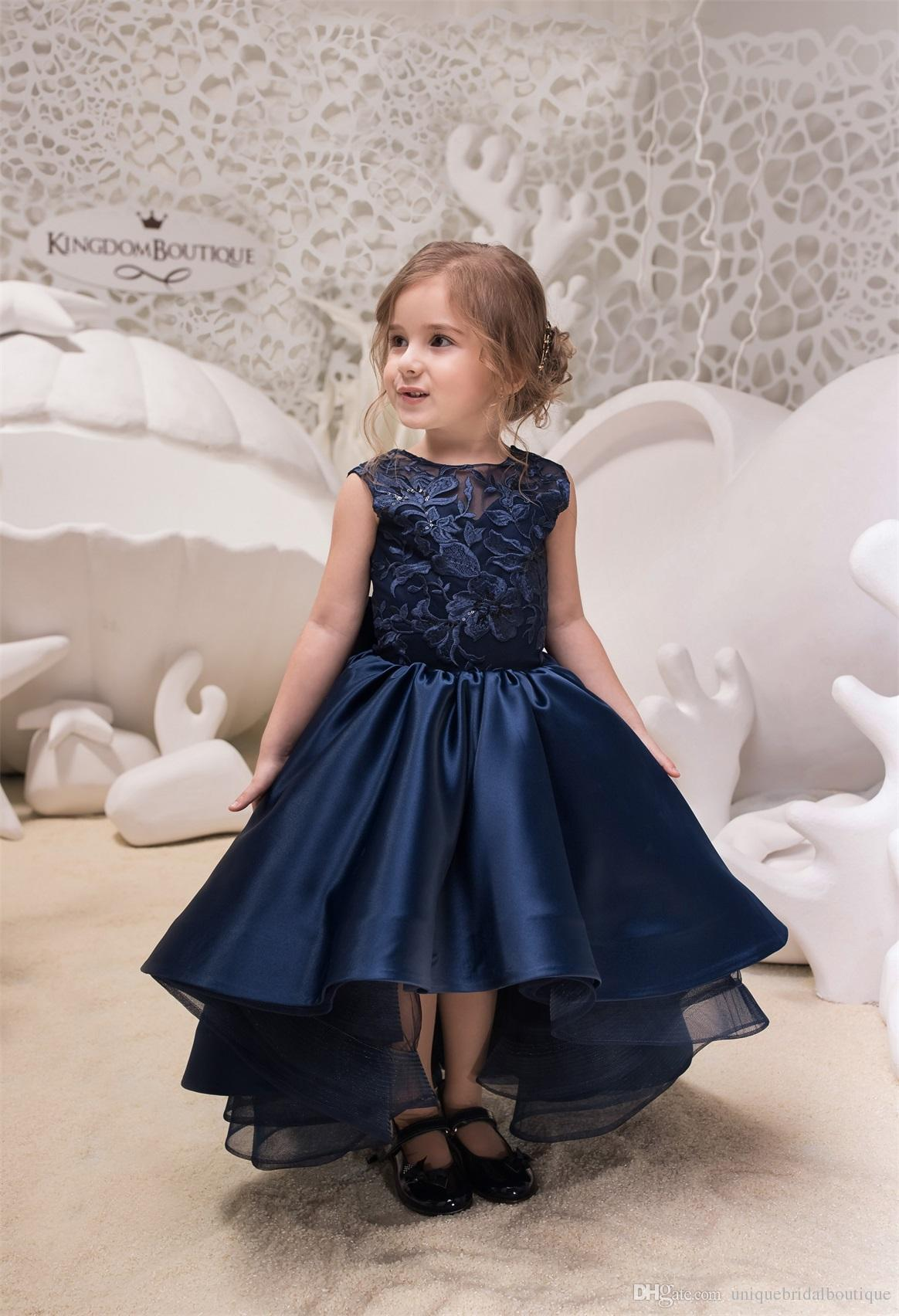 f376a735d5e Hi Lo Kids Prom Dresses 2018 Mother Daughter Gowns Navy Blue Flower Girls  Dress Big Bow V Back Formal Party Wear For Little Girls UK 2019 From ...