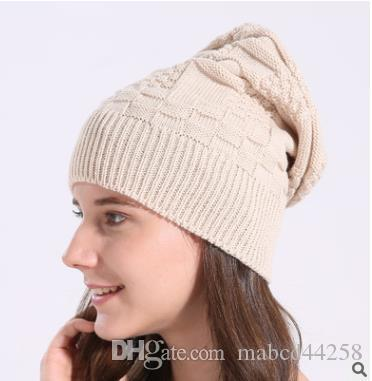 05e309b2c2b 2018 KLV Winter Hats For Women Men Warm Casual Cotton Hat Crochet Slouchy  Knit Baggy Oversized Ski Beanie Hat Female Skullies Beanies Mens Hats Straw  Hat ...