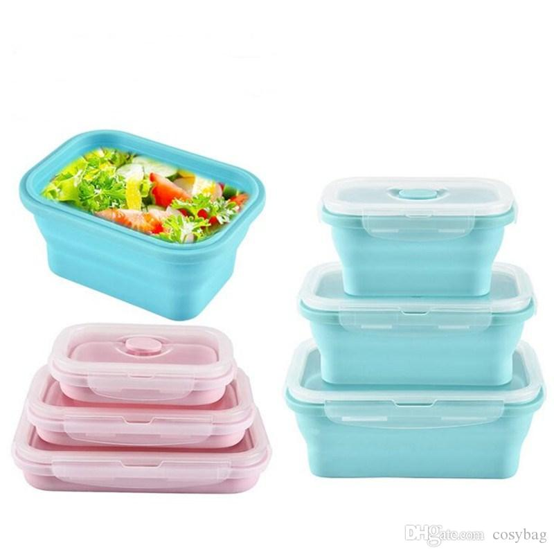 Collapsible Food Storage Containers 3 Pack Silicone Bento Lunch