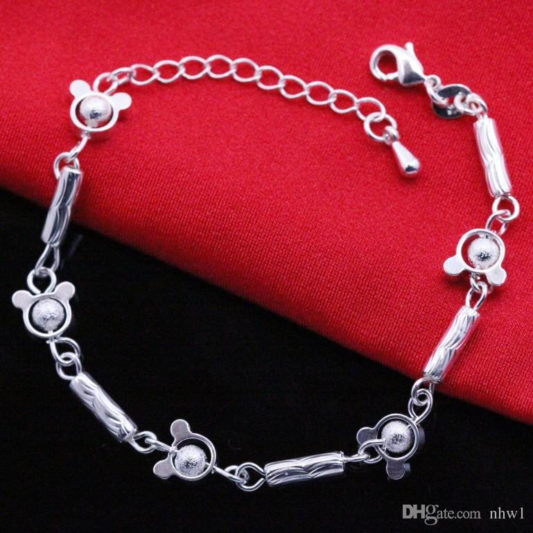 Unique Nice Sexy Simple Beads Silver Chain Bracelet Hand Jewelry Gift Stamped 925 Sterling Silver Bracelet For Women Ladies Girls