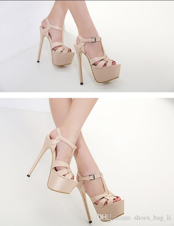Summer Women's High Heels Fashion 18cm Super High Heel Platforms Fine Women Sandals Top Quality
