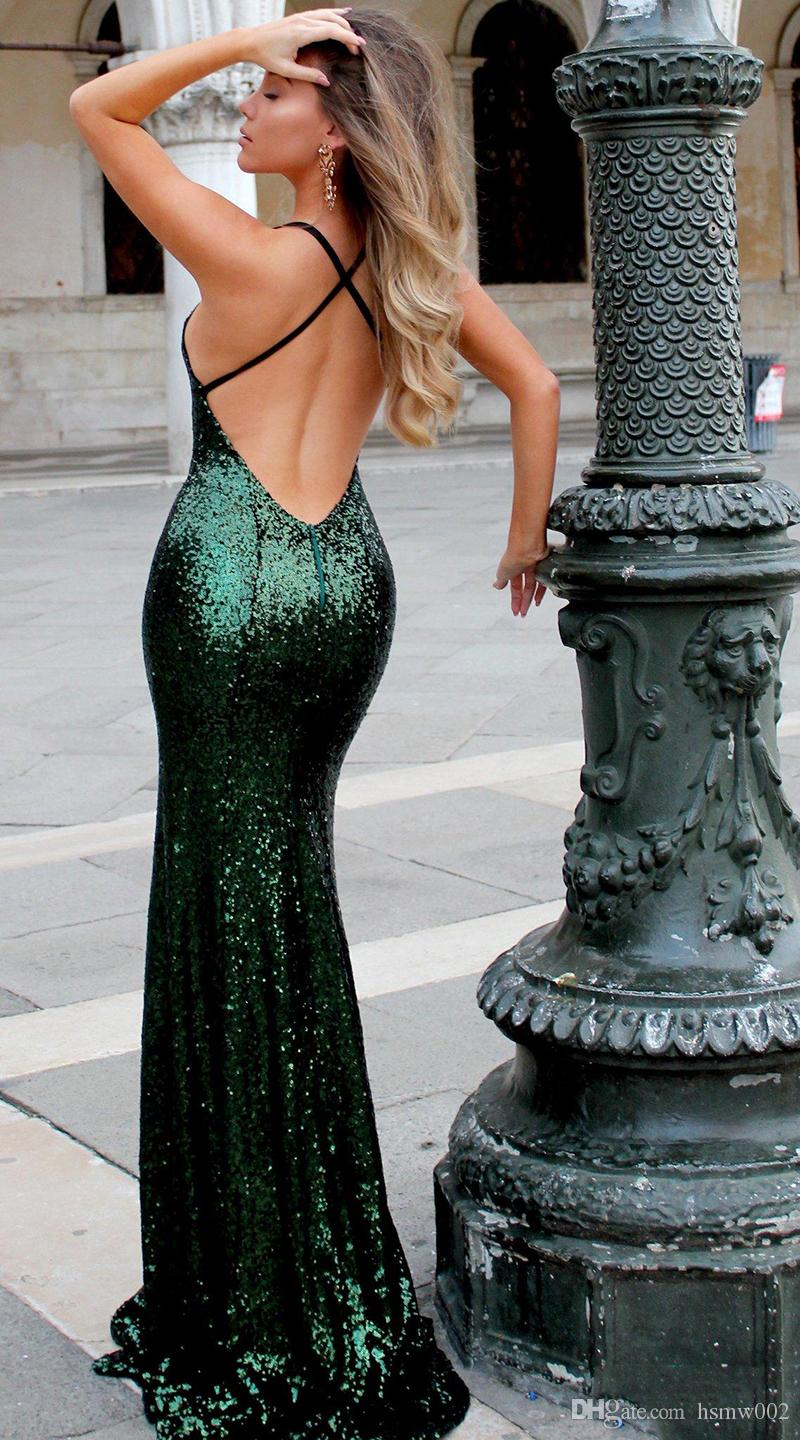 Bling bling Sequins Mermaid Prom Dresses Sexy V Neck Backless Dark Green Evening Dresses Sweep Train Cheap Prom Party Gowns Custom Made