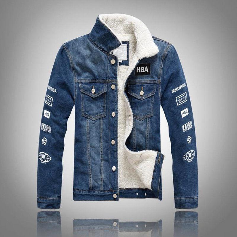 Wholesale 2018 Denim Jacket Fur Collar Men Winter Black Male Bomber Jacket Fashion Men Jacket Plus Velvet Leisure Coat