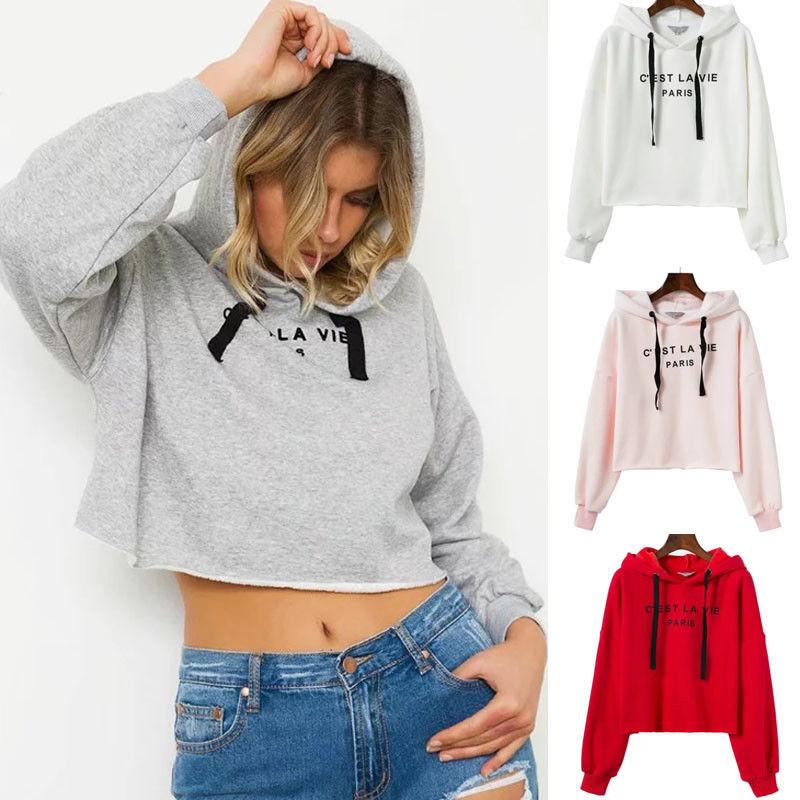 e1c31956a8c86 Women Sweatshirt Pullovers Casual Crop Top Outwear Long Sleeve Hooded  Pullover Top Hoodie Sweatshirts Autumn Women Clothes Online with   28.12 Piece on ...