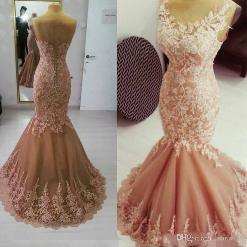 2018 New Designer Pink Mermaid Evening Dresses Turkey Lace Appliqued Sheer Scoop  Neck Prom Gowns Cheap Party Dress Evening Dresses For Women Formal Dresses  ... 694a3767a