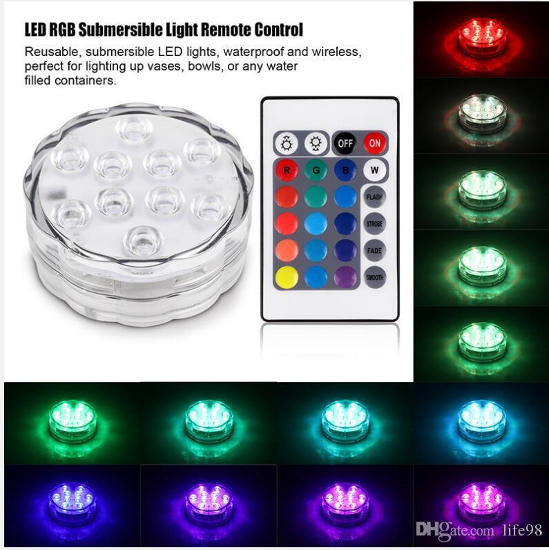RGB погружной светодиодный подводный свет 10 светодиодов с батарейным питанием IP67 водонепроницаемый свет лампы для бассейна для свадебного торжества