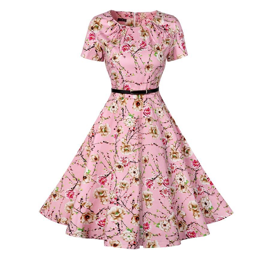 2019 Wholesale Vintage Tunic Dress Women Short Sleeve 1950s Retro Audrey Hepburn Rockabilly Swing Floral Print Fit And Flare Vestidos From Bida Jany