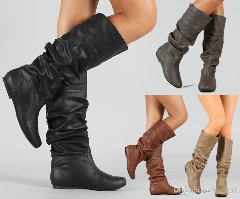 71efd5edd8b Compre Botas De Caña Alta Para Mujer Zapatos De Rodilla De Cuero Suave  Cómodos Botas Largas Para Mujer Scarpe Donna Estive Comode A  32.17 Del  Bags254 ...