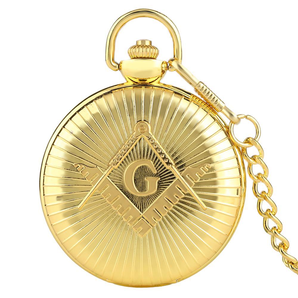 d3cec779f Luxury Golden Big G Masonic Free Mason Freemasonry Jewelry Quartz Pocket  Watch Fob Watches Pocket Chain Gifts Relogio De Bolso Swiss Mechanical  Pocket Watch ...