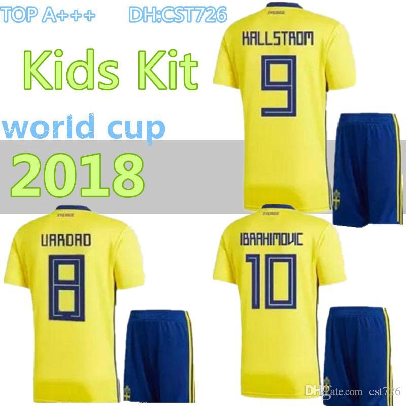 7bfee2e1924 2019 2018 Kids Sweden Soccer Jersey Kit 2018 WORLD CUP Youth Boys Zlatan  Ibrahimovic Marcus Berg BERG TOIVONEN Football Shirt Full Set From Cst726