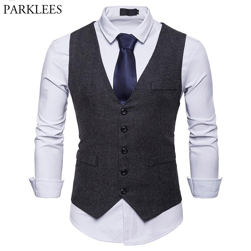 British Style Single Breasted Woolen Suit Vest Men 2018 Brand New ... 14a1163f337c