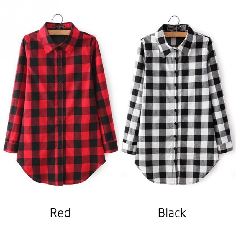 2018 Xadrez Camisa Feminina Estilo Colégio Blusas das Mulheres Camisa de Manga Longa de Flanela Plus Size Blusas Casuais Camisas M-XL Preto Vermelho