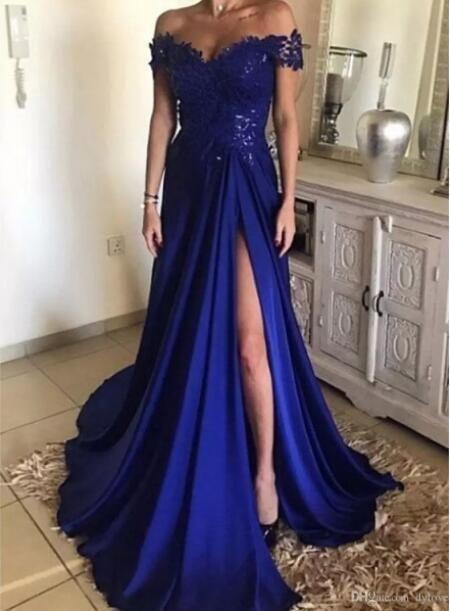 Королевский синий шифон вечерние платья элегантный длинные женщины вечерние платья с плеча кружева сторона сплит пром платья