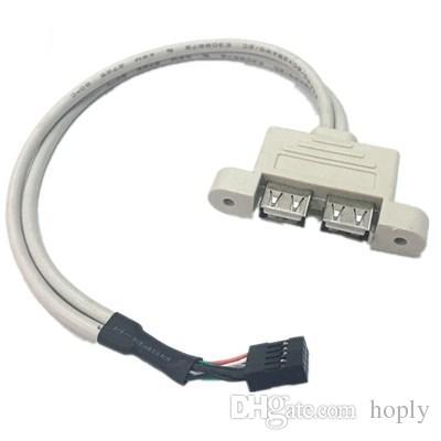 9 Pin dişi USB başlığı Çift USB 2.0 Tyep A Dişi Kablo Çift katlı USB2.0 Splitter Kablo paneli vida delikleri