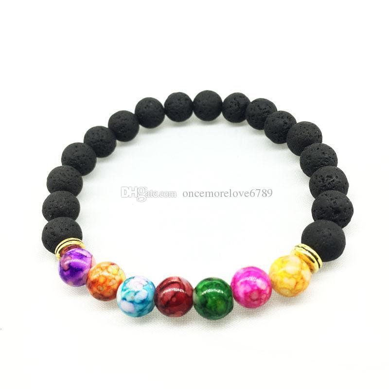 8 мм красочные унисекс чакра энергии браслеты природных черный лавы камень бусины эластичный браслет эфирное масло диффузор браслет