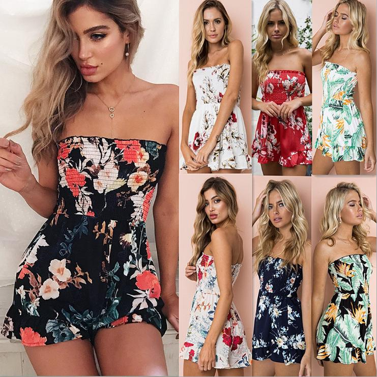 Womens Off Shoulder Floral Print swimwear Playsuit Ladies Summer Romper Shorts Trousers Holiday Clubwear Summer Short Jumpsuit FFA139 20PCS
