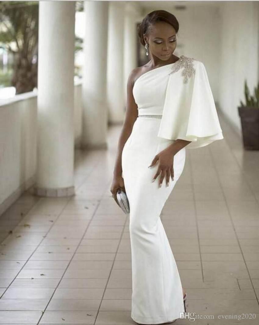 2018 Elegant White Mermaid Evening Dresses One-Shoulder Sequins Unique Design Floor-Length Special Occasion Dresses Charming Prom Dresses