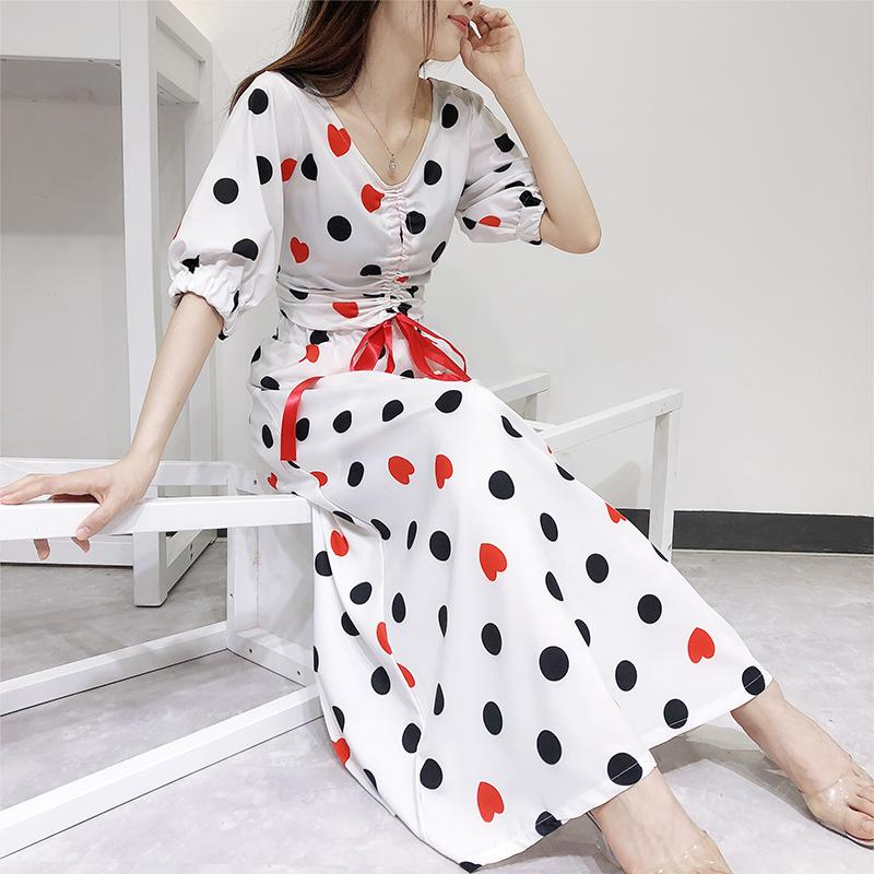 af3bb040d831 2019 Women Two Piece Skirts Sets 2018 New Lady Summer V Neck Drawstring  Half Sleeve Top + High Waist Dot Print Long Skirt Suits From Erzhang