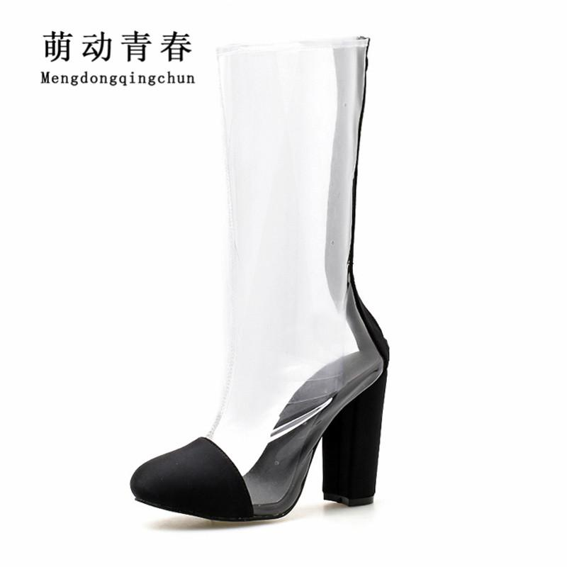 0126053fad0f 2018 Fashion Women Boots New Round Toe Hoof Heels High Heels Shoes Women  Mid Calf Autumn Clear PVC Rainboots Sexy Boats Rain Boots For Women Wedge  Booties ...