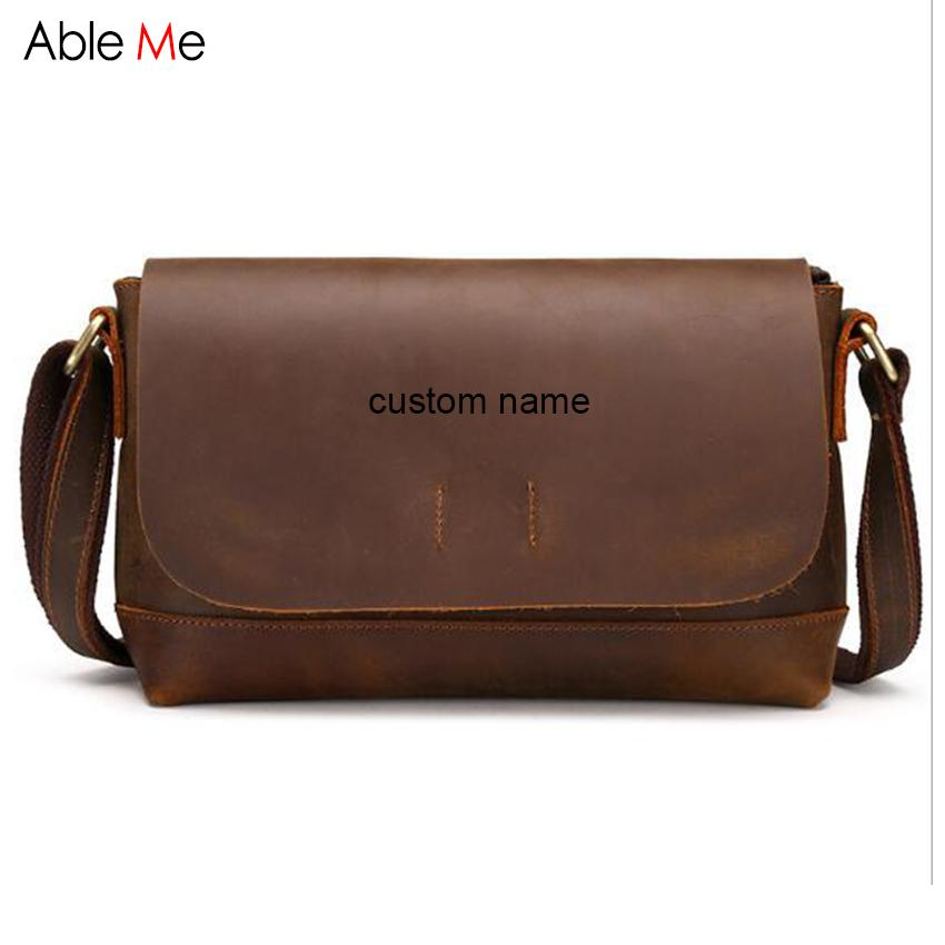New Genuine Leather Messenger Bags Custom Name Men Shoulder Bag Package  Cover Design Boys Small Crossbody Bag Discount Designer Handbags Wholesale  Purses ... 1e02c8c5d0
