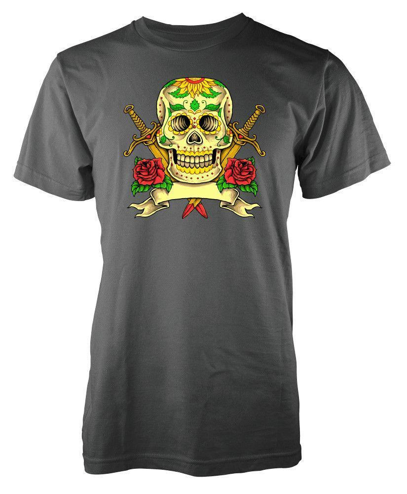 Sweatshirt Adulte Jour des morts Sugar Skull Roses Swords