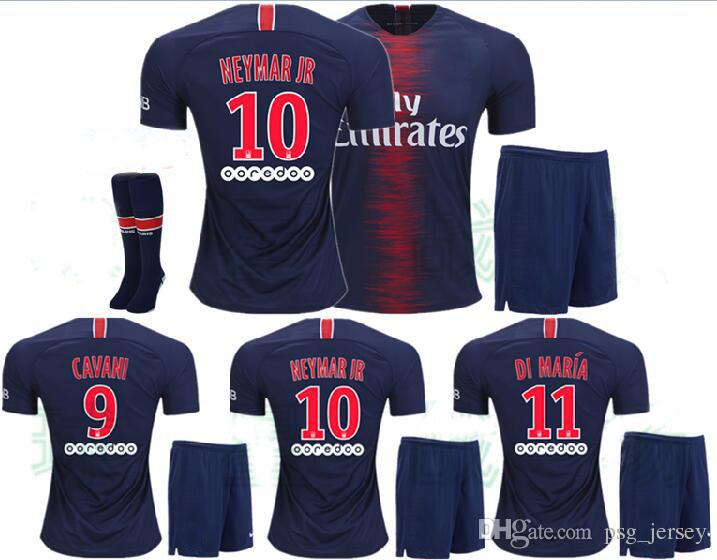 half off f50f4 74856 Top Quality PSG KIT soccer jersey 2018 2019 CAVANI MBAPPE DI MARIA saint  germain cavani jersey 18 19 Survetement maillot PSG football kit sh