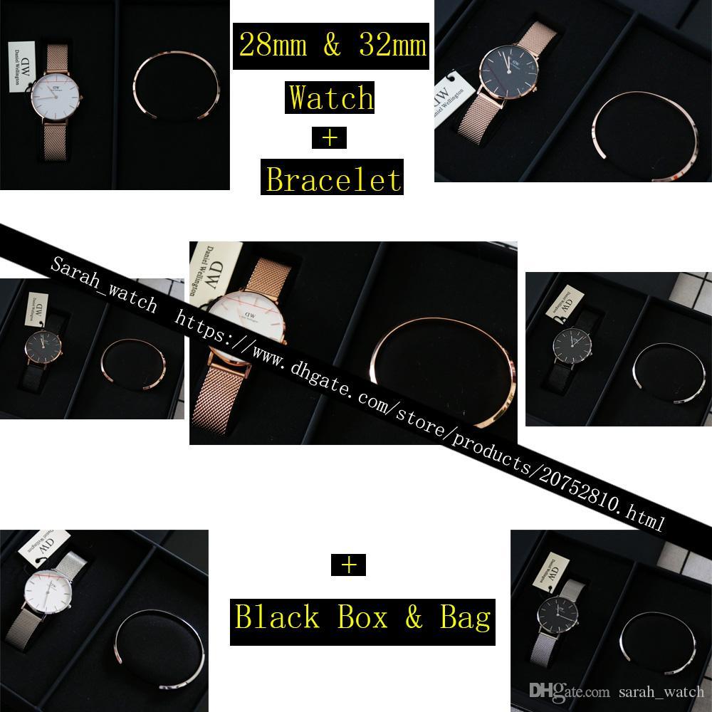 Mejor versión combinación 28 mm 32 mm reloj de mujer + pulsera de mujer + caja negra + bolso negro