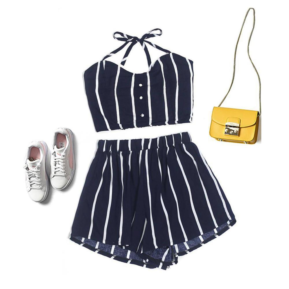 Set Women Sexy Halter Crop Top And Shorts Two Piece Outfits Women For  Summer Striped Print Beach Shorts Set UK 2019 From Merrylady 9e9f9e9be5