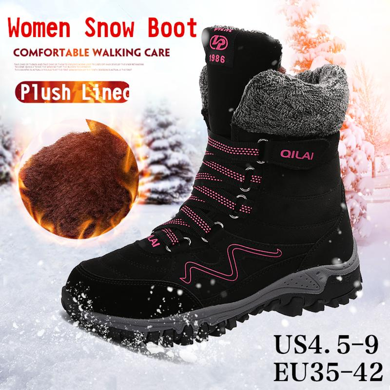 7e670b62d56 Women Fur Lined Winter Snow Boots Lightweight Sneakers Womens Warm Outdoor  Water Resistant Lace up Casual Walking Mid Calf Ice Maiden Boots