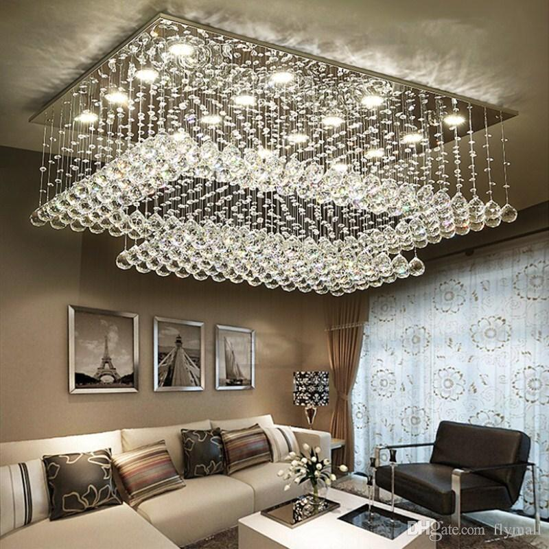 Modern Contemporary Remote Led Crystal Chandeliers With Led Lights