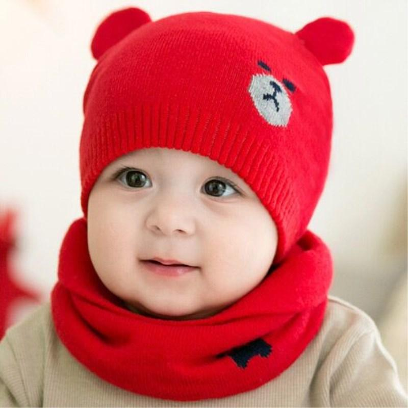 93dbd28cb15 2019 Cute Bear Baby Hat Beanies Toddler Cap Knitted Warm Scarf Kids Winter  Hats Newborn Scarf Set Baby Girls Hats From Fwuyun