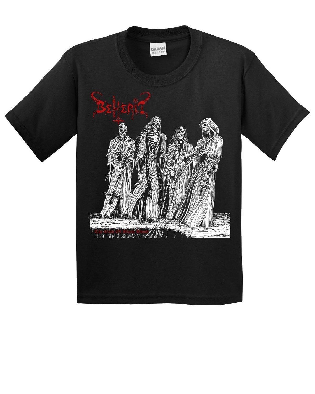 0feec4274 Beherit Oath of Black Blood T Shirt New Black Metal Death Black Funeral  Mayhem Print T-Shirt Mens Short Sleeve Hot Top Tee Large T-shirt Printing  Short ...