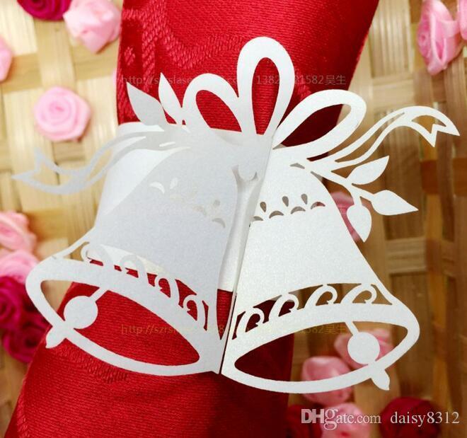 Laser Cut Hollow Bell Paper Card Napkin Ring Serviette Buckle Holder Hotel Wedding Party Favour Decoration