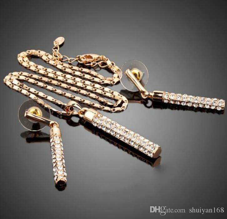 Collana in Oro 18K ha placcato orecchini di diamanti Imposta marca Element Moda strass Jewelry Set le donne festa di nozze