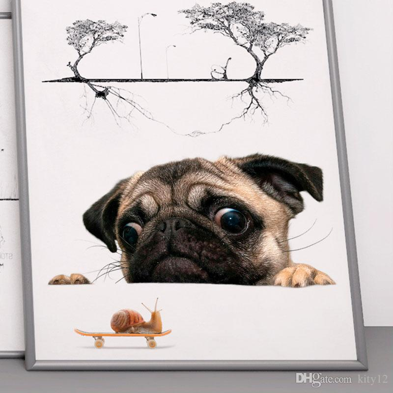 Dog Vivid 3D Wall Sticker Bathroom Toilet Decorations Kids Gift Kitchen Cute Home Decor Decal Mural Animal Wall Poster