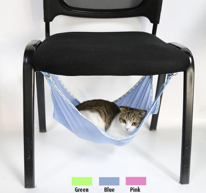 Humorous Cats Hammock Summer Breathable Mesh Hammock Portable Cats Pets House Hanging Bed Mat Multi-functional Cats Beds Cat Accessories Cat Supplies