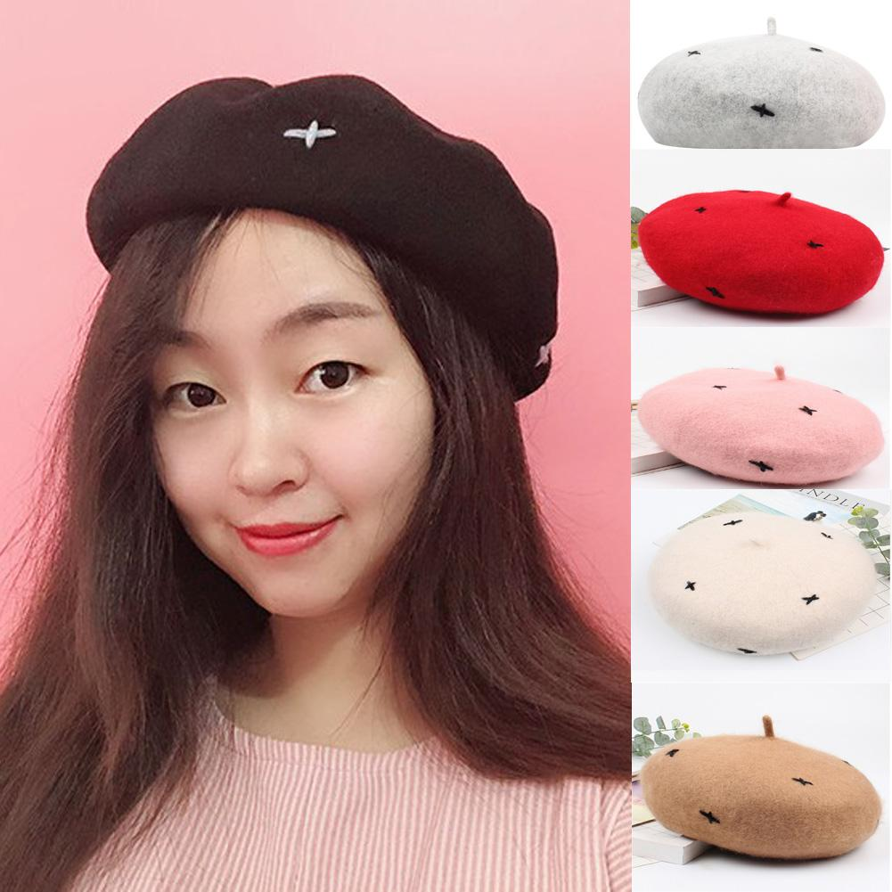 Hot Berets Women Solid Wool Beige Warm Fashion 2018 New Winter Beret French  Style Warm Slouch Beanie Hat Winter Ski Caps Berets UK 2019 From Qiuyeluo 3498bcd07f0