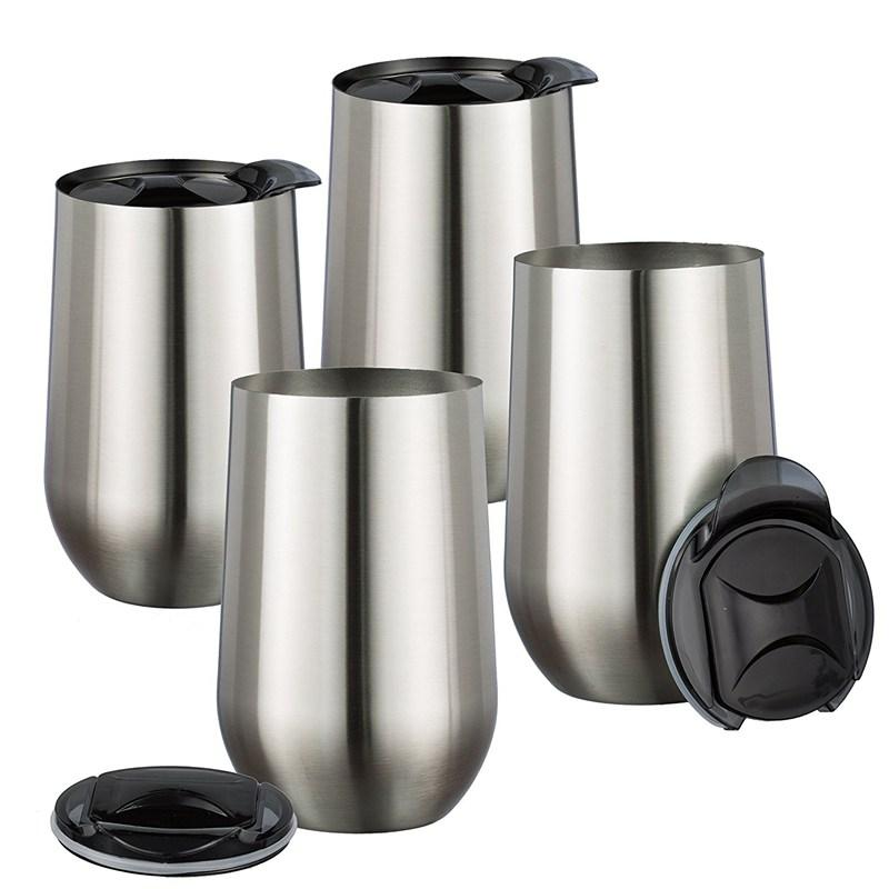 16oz Stainless Steel Stemless Wine Glass With Lids Double