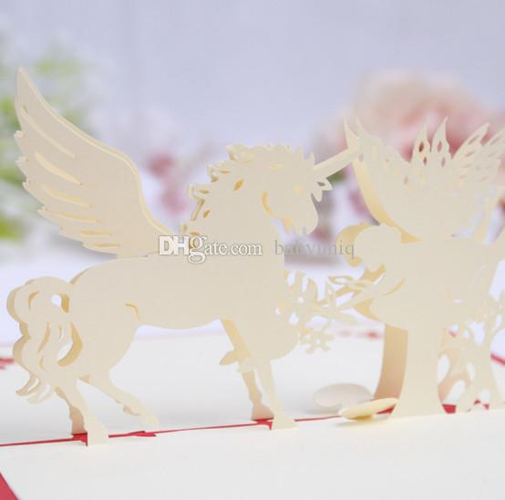 3d Pop Up White Unicorn Greeting Cards For Birthday Christmas Party