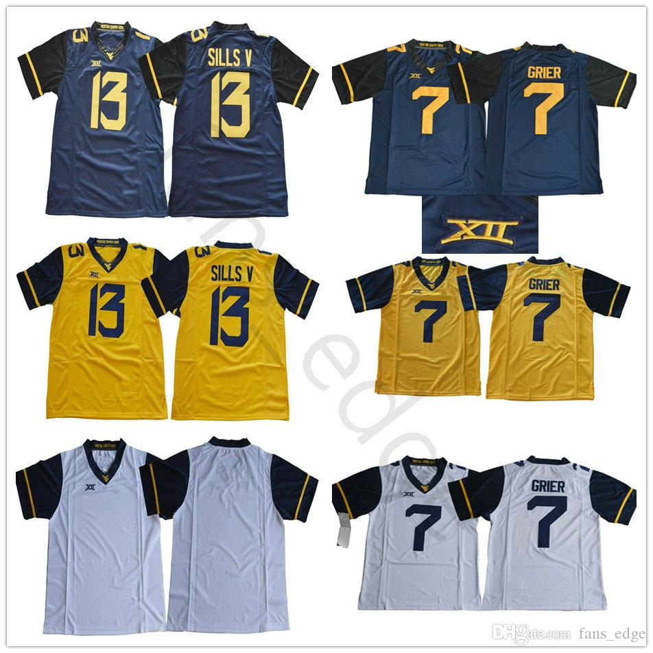 2018 Ncaa West Virginia Mountaineers 7 Will Grier Jersey White Yellow Navy  Blue Stitched Xii Patch  13 David Sills V College Football Jerseys From  Fans edge ... 1ebb22a74