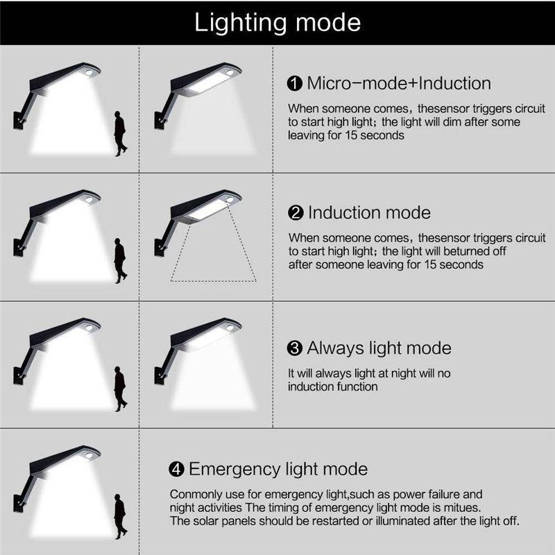 48 Luz LED 900LM LED Lámpara de pared LED Sensor PIR Movimiento 4 modos Luces de emergencia con poste ajustable para iluminación exterior de jardín