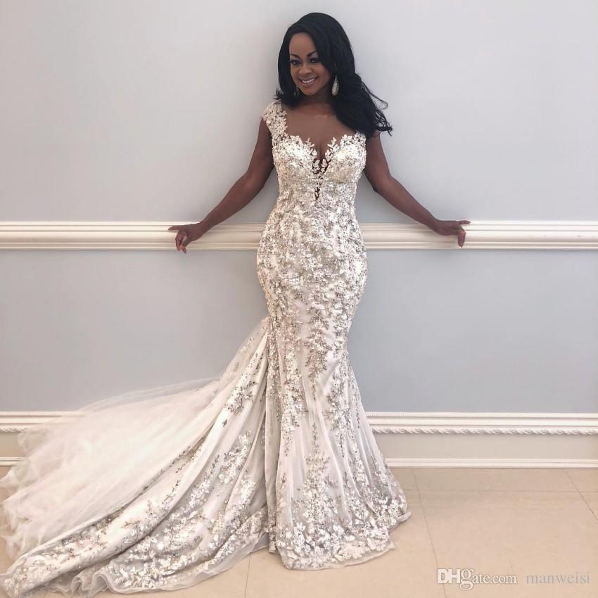 Gorgeous Appliques Mermaid Wedding Dresses 2019 Sexy Sheer Neck Cap Sleeves Bridal Gowns African Vestidos Saudi Dubai robes de soirée