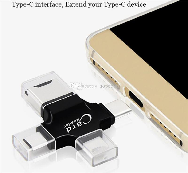 4 in 1 Card Reader Type C Micro usb adapter Micro SD Card Reader for iP5 Smart OTG Card Reader