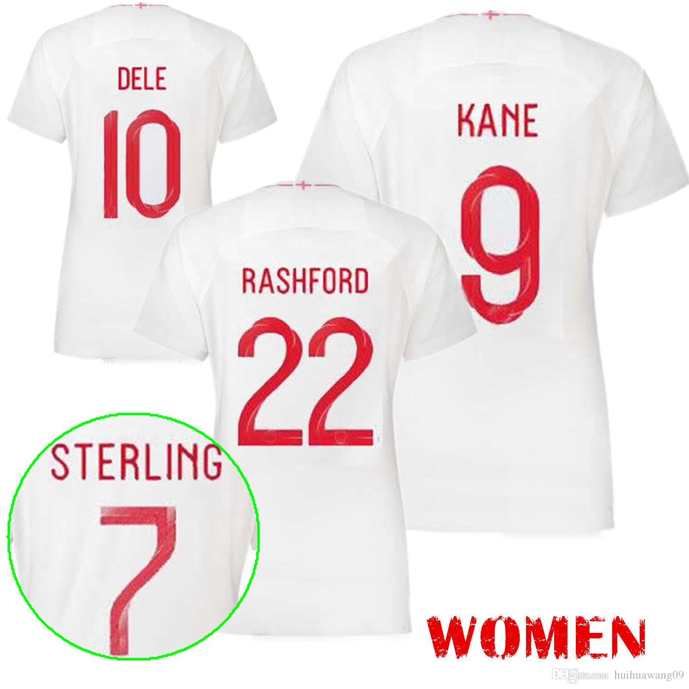 2019 Women 2018 World Cup Angland Home Soccer Jerseys White Dele Alli 2018  KANE STURRIDGE STERLING HENDERSON VARDY Beckham Girls Football Shirt From  ... 783f50b5d