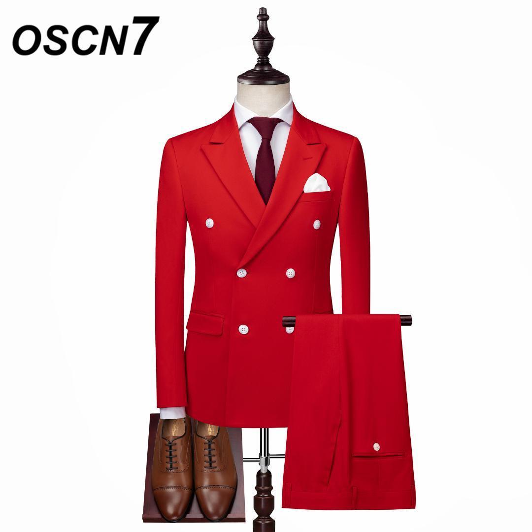 Compre OSCN7 Traje De Boda Rojo Hombres Doble Pecho 3 UNIDS Trajes Para  Hombre Del Partido Ajuste Delgado Del Ocio Traje Homme XZ137 A  150.16 Del  Edwiin04 ... d6c74990c9c