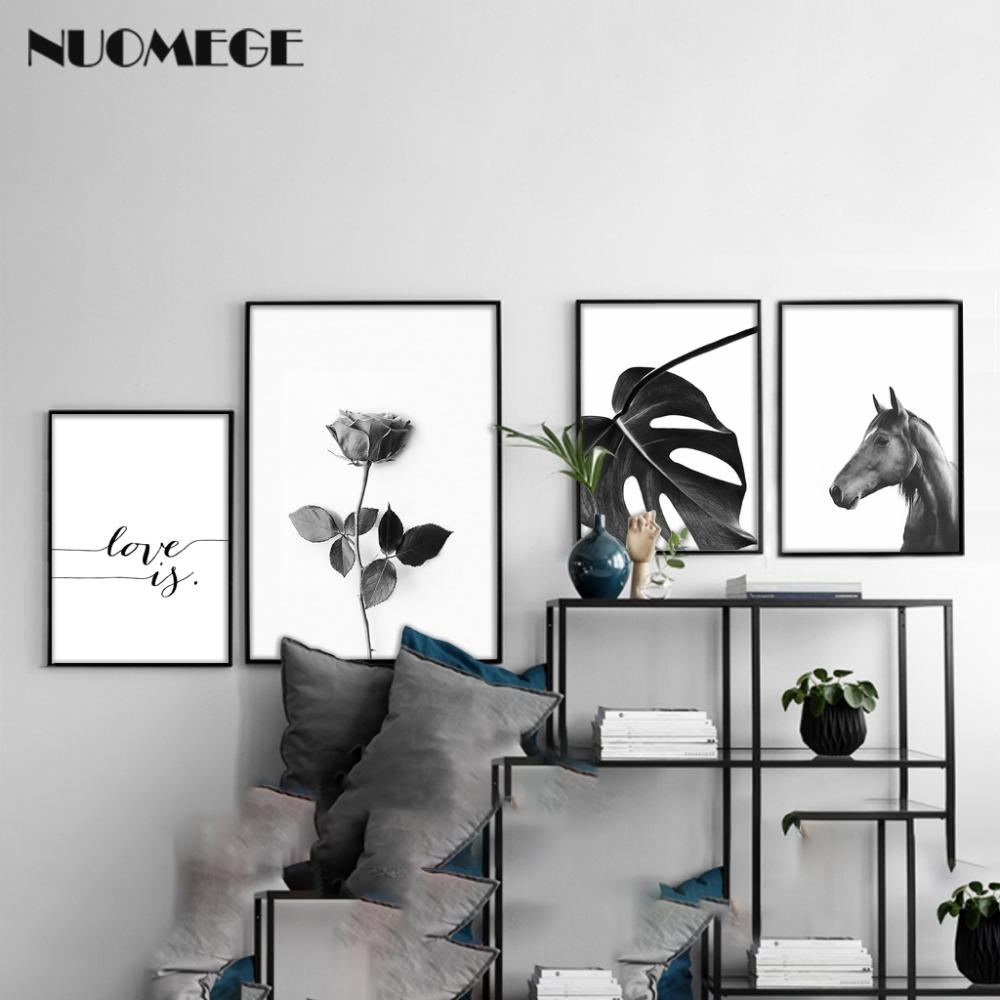 2018 Black And White Horse Flower Wall Art Canvas Poster Print