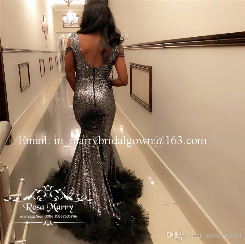 Cinza Lantejoulas Sereia Africano 2K19 Prom Vestidos Plus Size Preto Ruffles Tulle Preto Meninas Barato Árabe 2020 Formal Vestidos de Festa À Noite
