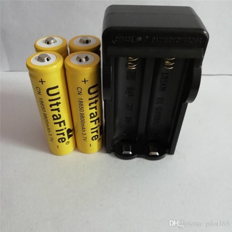 Alta qualidade quatro 18650 3 7 v 9800 mAH bateria de lítio amarelo +18650  carregador de bateria de iões de lítio, os fabricantes de vendas diretas