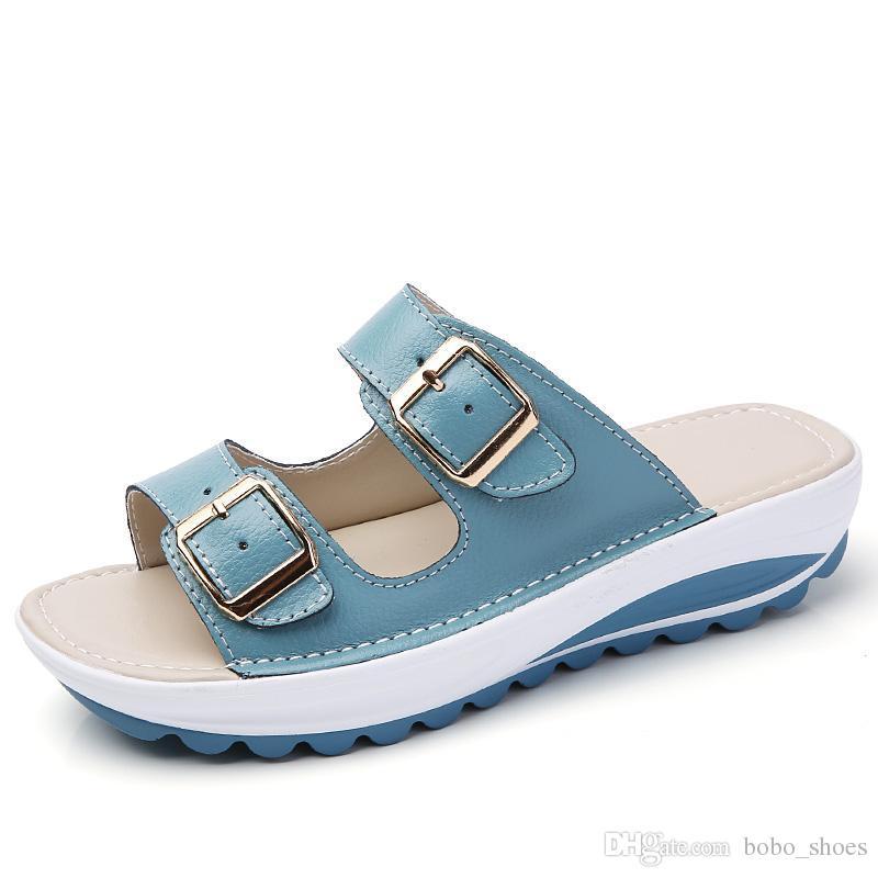965879f9ae1 O16U Summer Women Sandals Shoes Platform Leather Buckle Flats Light Soft  Ladies Casual Heel Comfortable Slides White Black Blue Jelly Sandals  Platform ...