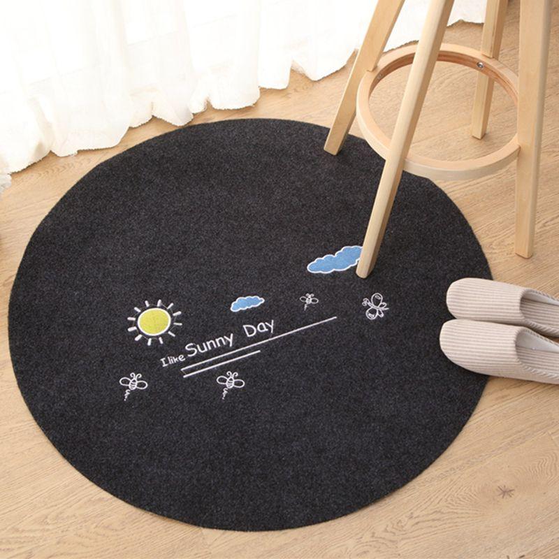 2018 Thickening Household Circular Floor Mat Bedroom Rug Computer ...